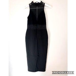 ASOS black mesh lace bodycon midi dress